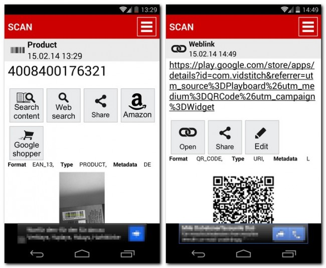 Die App QR & Barcode Reader entschlüsselt mit der Kamera deines Smartphones QR- und Streifen-Codes – und bietet dir abhängig von der Art der ausgelesenen Daten passende Möglichkeiten, diese Informationen zu verwenden.