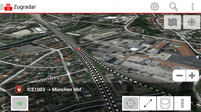 Im Verfolgungsmodus schaust du dem Zug von oben bei seiner Fahrt durch Deutschland zu.