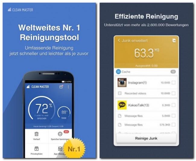 Mit Clean Master säuberst du dein Android-Gerät in Sekundenschnelle von lästigem Daten-Müll.