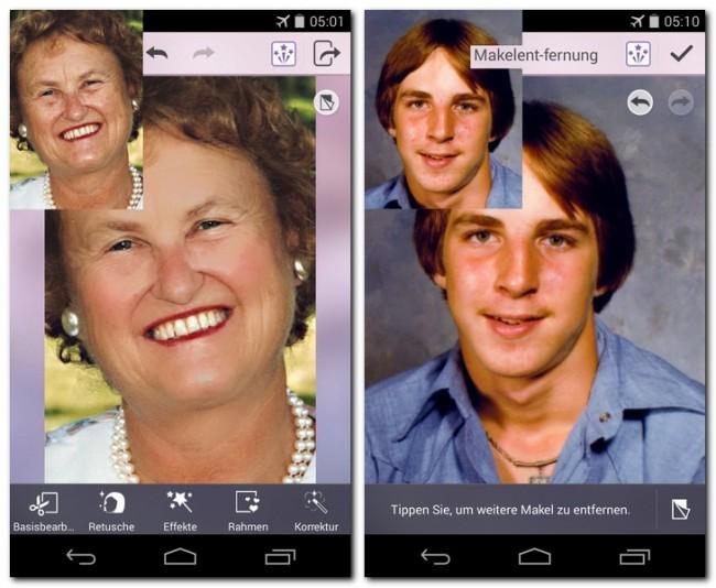 Mit der App YouCam Perfect ist es sehr einfach, auf Porträtfotos Falten zu glätten und Hautunreinheiten verschwinden zu lassen. Die Stärke der Verschönerungen legst du mit einem Schieberegler fest.