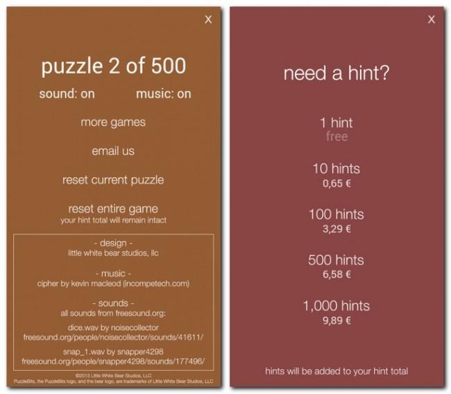 PuzzleBits beinhaltet 500 Puzzles, welche von dir gelöst werden wollen. Auch eine kleine Hilfestellung bietet das Spiel, falls du nicht mehr weiterweist, wenn auch gegen Echtgeld.