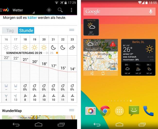 Das Programm bietet ein Diagramm mit stündlichen Wetterwerten. Auch drei Widgets für die Startseite des Smartphones stellt die Weather-Underground-App bereit.