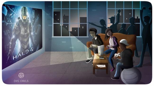 Du kannst aber auch Xbox- oder Playstation-Spiele an die Wand streamen. (Foto: Kickstarter/Dos Owls)