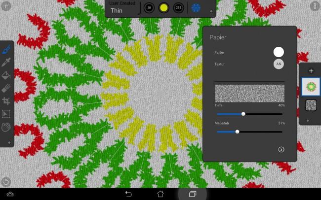 Die Symmetriefunktion erlaubt ein rasches Erzeugen von Zeichnungen ähnlich einem Kaleidoskop.