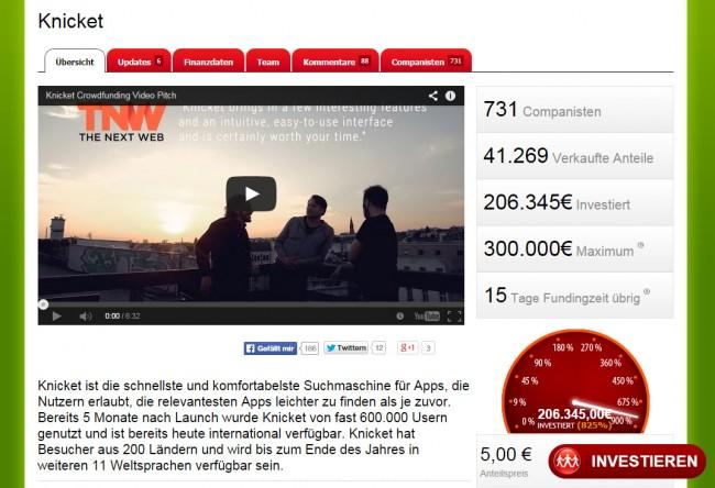730 Investoren bisher brachten 200.000 Euro in die Kassen. Noch kann jeder mitmachen! (Screenshot: companisto)