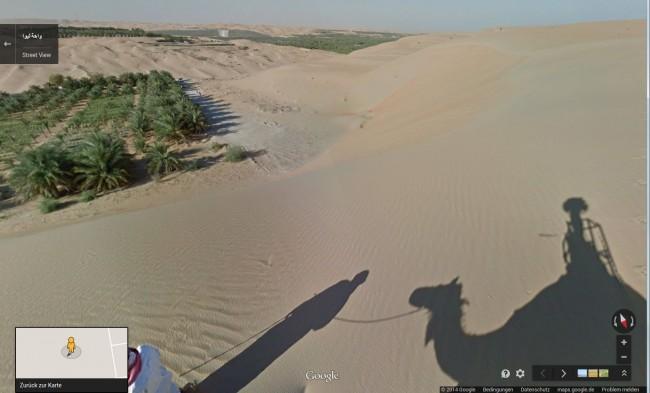 Die Panoramafotos der arabischen Wüste haben die Street-View-Mitarbeiter mit Hilfe eines Kamerarucksacks angefertigt, den sie auf dem Rücken eines Kamels befestigt haben. (Bild: Screenshot Web-Site Google Maps)