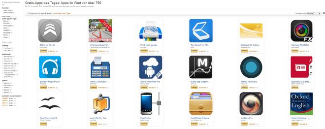 Heute noch kostenlos: 19 Apps im Wert von über 75 Euro (Screenshot Amazon)