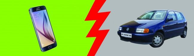 Der große Android Magazin-Vergleichstest: Android vs. Auto, Samsung Galaxy S6 gegen den VW Polo 6N