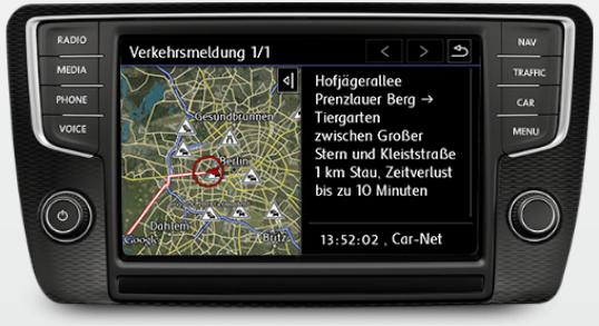 Verkehrsinformation: Dank dieser Car-Net-Funktion kann das Navigationssystem aktuelle Verkehrsinformationen berücksichtigen, um bei Beeinträchtigungen alternative Strecken vorzuschlagen.