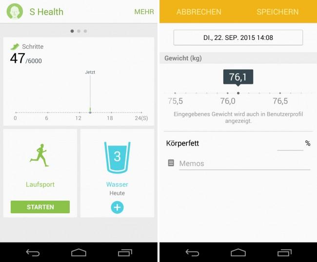 """Die Gesundheits-App """"S Health"""" führt Buch über deine täglichen Aktivitäten, so dass du eine gute Übersicht unter anderem darüber erhältst, ob du genügend trinkst, nicht zu viel isst, ausreichend Sport treibst und lange genug schläfst."""