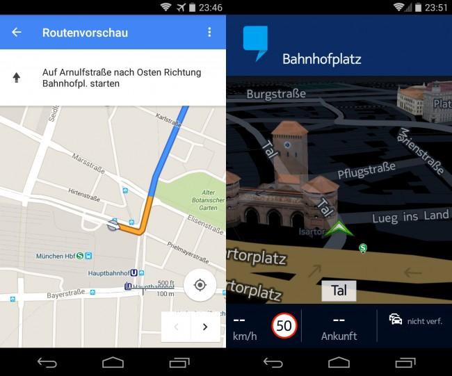 Navigations-Apps wie Google Maps (links) und Here (rechts) erleichtern es uns, den besten Weg zu finden – führen aber auch zu einer Verkümmerung des Orientierungssinns.