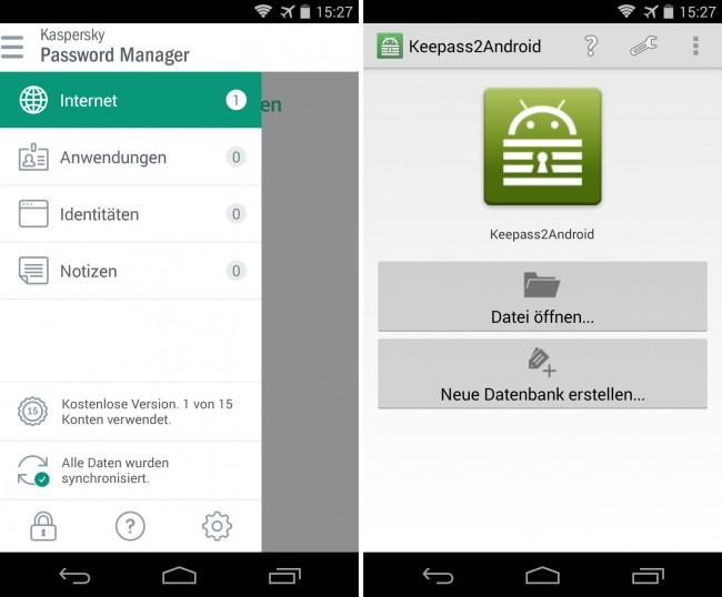 """Apps wie """"Kaspersky Password Manager"""" (links) und """"Keepass2Android"""" (rechts) helfen dir dabei, deine diversen Passwörter sicher zu verwalten."""