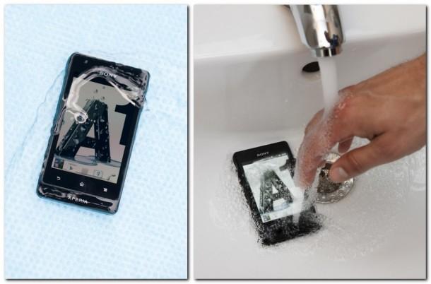 Beim Unterwassertest wurde das Smartphone auf die Dichtheit und Bedienbarkeit unter der Wasseroberfläche getestet. Foto: A1.