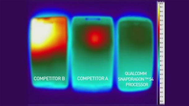 Der Qualcomm Snapdragon S4 zeigt im Wärmevergleichstest die geringste Wärmeentwicklung. Foto: Youtube.