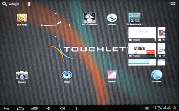 Die Benutzeroberfläche des Touchlet X10 ist eine leicht modifizierte Android 4.0-Variante.