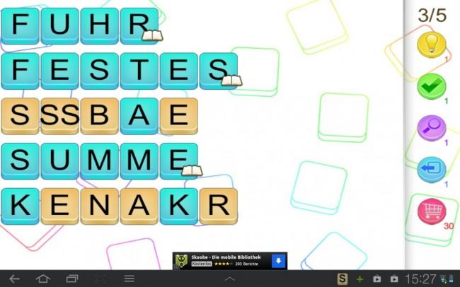 Je nach Schwierigkeitsgrad werden dir in diesem Wortmischspiel komplizierte und längere oder einfache und kurze Wörter präsentiert.