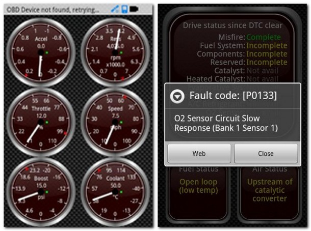 Mit der Fahrzeugdiagnose-App Torque lassen Diagnosedaten aus dem Autocomputer auslesen.