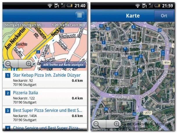 Das Örtliche kennt die Telefonnummern und Adressen von deutschen Geschäften, Firmen und Behörden. Die gefundenen Einträge zeigt das Programm auf einer Straßenkarte oder auf einem Satellitenfoto an.