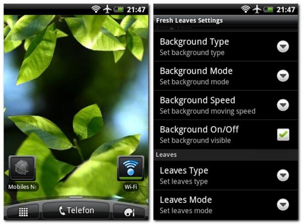 Die Fresh Leaves bringen ein Stück idyllischer Natur auf den Hightech-Bildschirm. Du kannst vielfältig festlegen, wie die Blätter und ihr Hintergrund aussehen sollen.