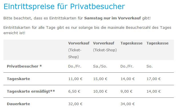 Die regulären Preise der Gamescom-Tickets.