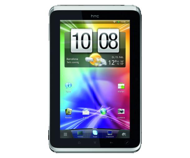 Das derzeitige Android Tablet von HTC, das HTC Flyer wurde auf dem Mobile World Congress 2011 vorgestellt. Foto: HTC.