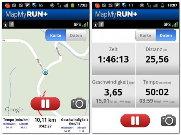 Die App Mapmyrun listet Zeit, zurückgelegte Distanz und Geschwindigkeit auf.