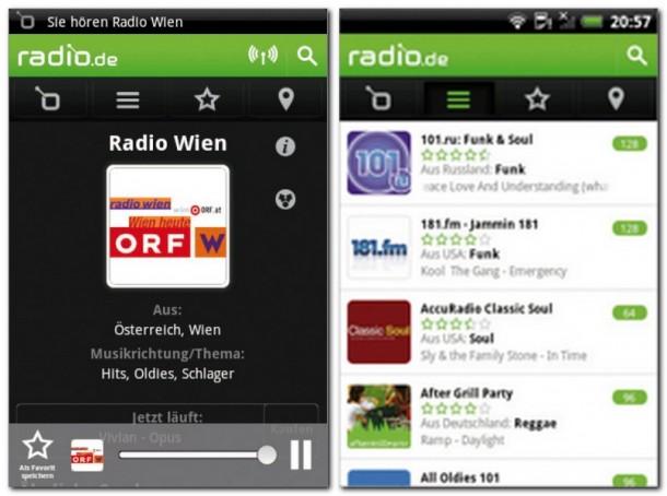 Radio.de bringt die Programme von über 4000 Radiosendern auf Ihr Smartphone. Man kann die Sender nach Musikrichtung, Thema, Land, Stadt oder Sprache sortiert anzeigen lassen.