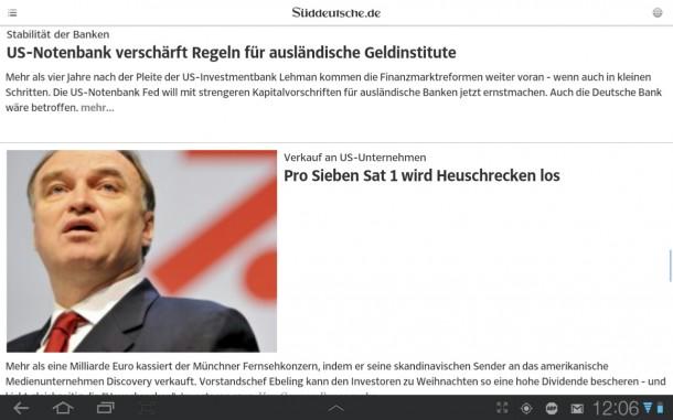 Die Artikel der Süddeutschen Nachrichten lassen sich speichern und offline lesen.