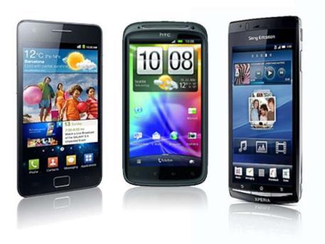 Die COMPUTER BILD Testsieger Samsung Galaxy S2, HTC Sensation und Sony Ericsson Xperia Arc, Foto: COMPUTER BILD