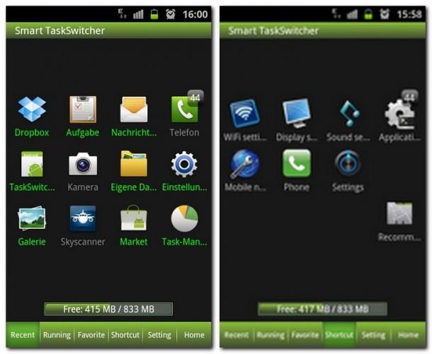 Am Startbildschirm sieht man alle kürzlich geöffneten Apps - unten die 6 Registerkarten. Die Shortcuts wären praktisch, kosten aber - rechts oben das Schnellstarticon.
