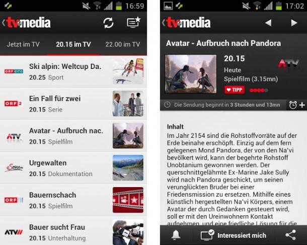 Die App von TV-Media ist schnell und grafisch hervorragend umgesetzt.