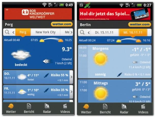 Die einfach zu bedienende Wetter.com- App versorgt Sie mit Wetterinformationen für Orte aus aller Welt. Die meisten der Wetterinformationen hält das Programm auch für die folgenden sechs Tage bereit.