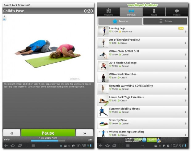 Die App Workout Trainer bietet umfangreiche Trainingsbeschreibungen und bebilderte Anleitungen zu verschiedenen Übungen.