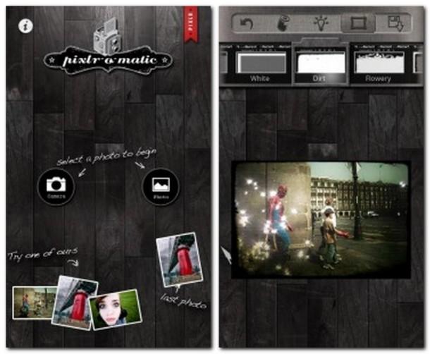 Schnell und einfach Fotos von der Kamera oder aus der Gallerie verschönern, dank Pixlr-O-Matic (Bild links).