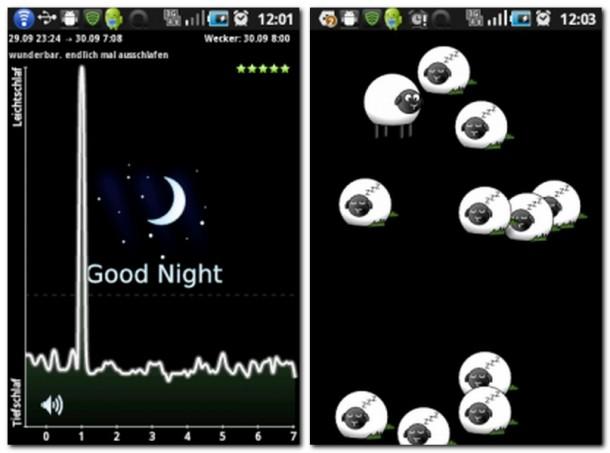 Schlafgebrabbel: Auf Wunsch verwendet die App das Mikrofon, für die nächtliche Aufzeichnung (Bild links).