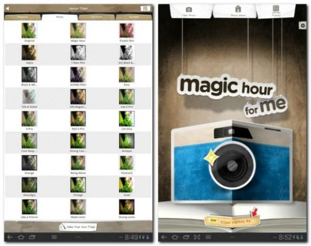 Bilder können mit verschiedenen Effekten, Texturen und Rahmen versehen werden.