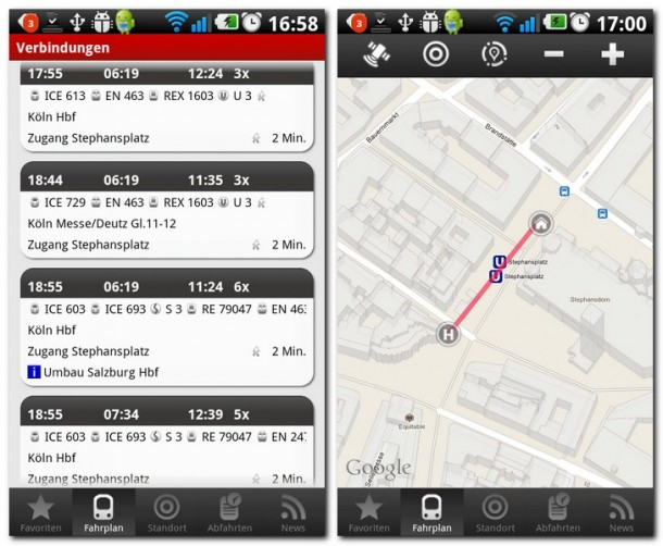 Von Köln bis zum Wiener Stephansplatz? Kein Problem mit SCOTTY mobil. Per Google Maps Einbindung werden auch ausgewählte Streckenteile angezeigt.