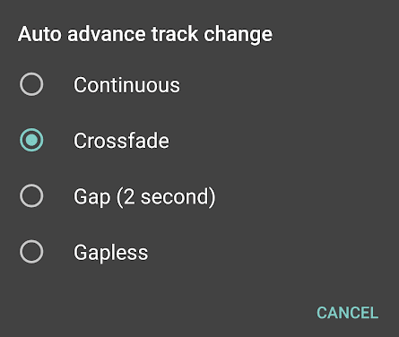 Auto advance track change