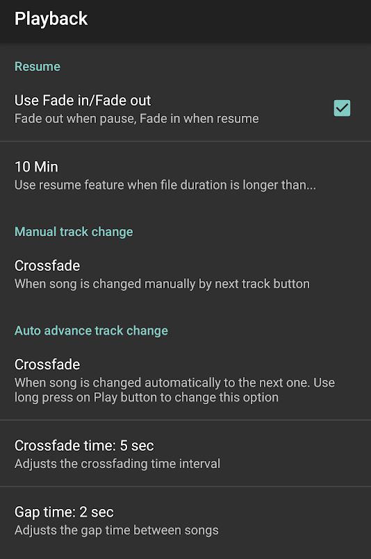 Crossfade Options in jetAudio