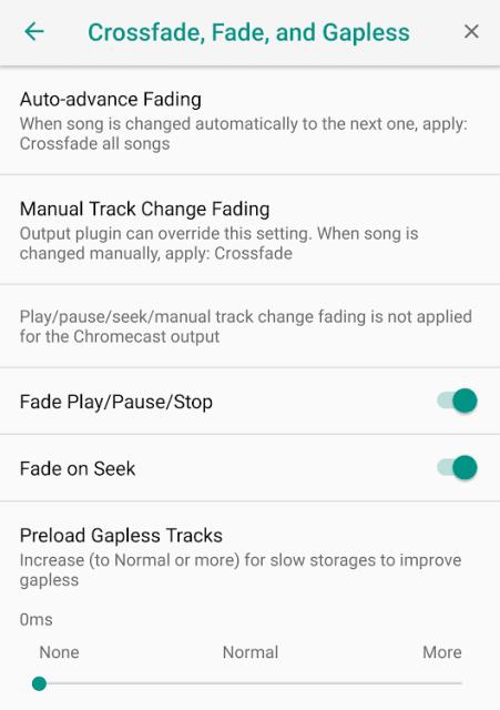 Crossfading Options for Poweramp