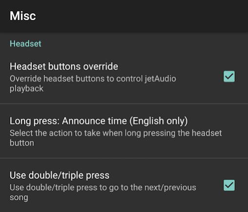 jetAudio Headset Actions