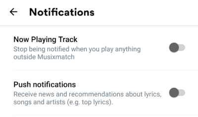 Notification Settings for Musixmatch