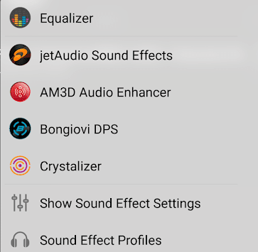 Sound Effect Settings in jetAudio