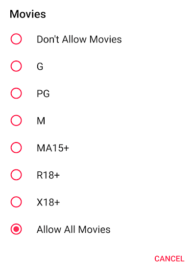 Movies Restrictions on Apple Music