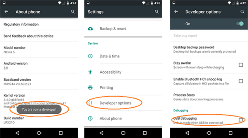 turn on USB debugging on Android 5.0