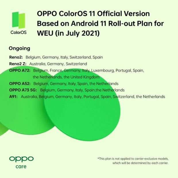 Oppo - Android 11 schedule July 2021