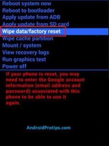 wipe data option