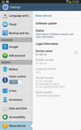 Galaxy Note 8.0 running 4.2.2