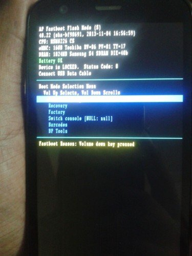 Moto G Dual SIM Fastboot Mode