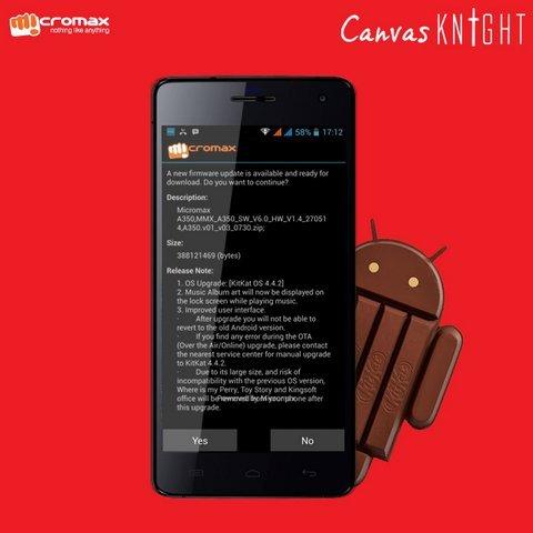 Canvas Knight Android 4.4 kitkat